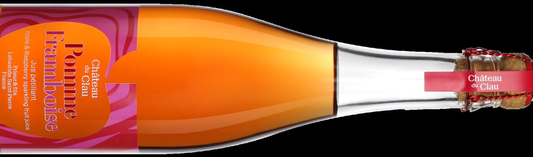 Sparkling raspberry apple premium natural fruit juice Chateau du Clau