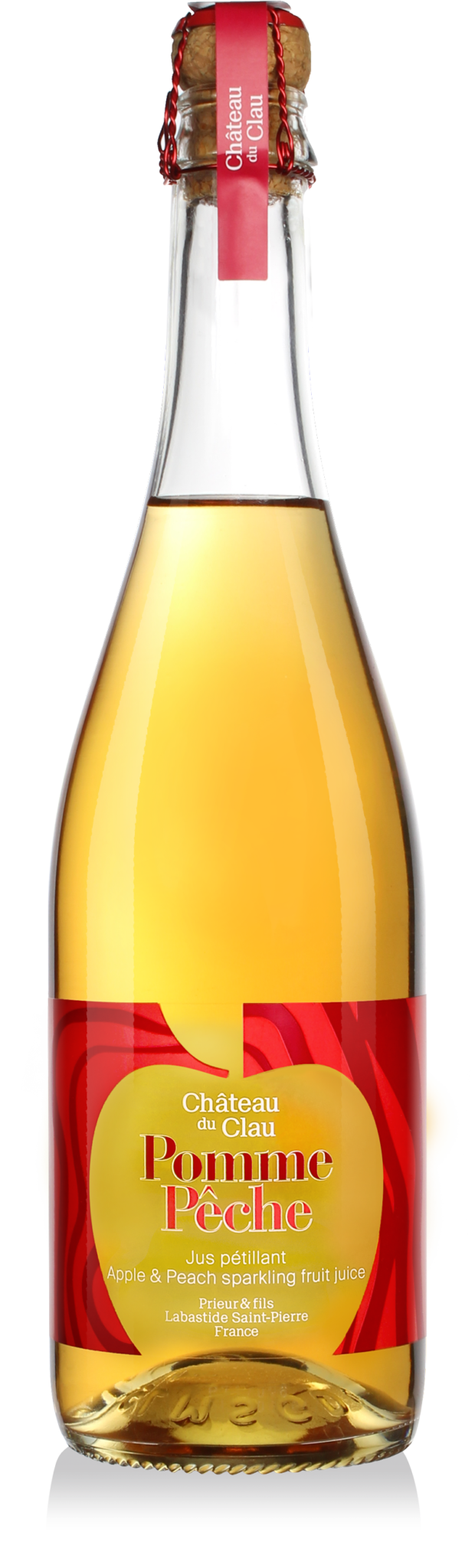 Sparkling Apple Peach premium natural fruit juice Chateau du Clau