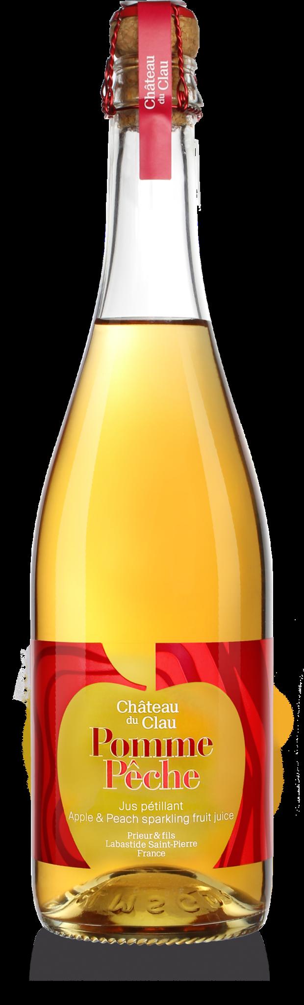 Petillant Pomme Pêche jus de fruits artisanal haut de gamme naturel Chateau du Clau